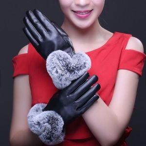 Accessories - Unique Faux Leather and Full Cuff Fur Gloves